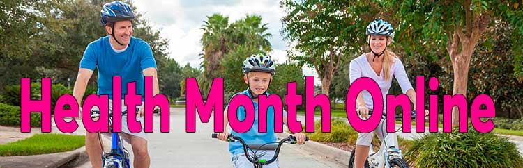 Family cycling with Health Month Online title